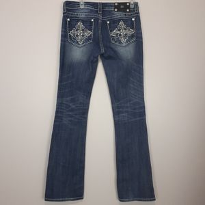 MISS ME Boot Cut Jeans Embellished and Distressed